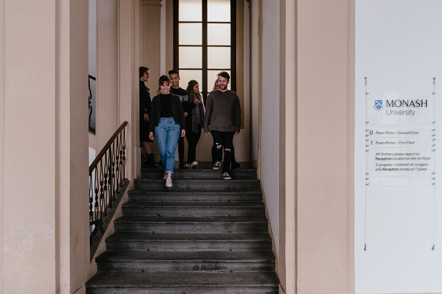 Students on the stairs